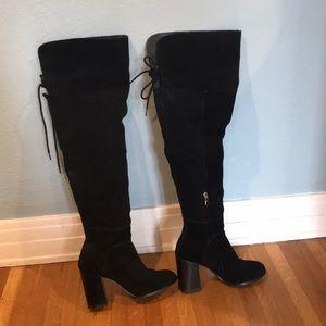Over-the-knee black suede block heel boots
